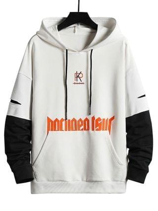 MEN Letter Embroidered Ripped Doctor Sleeve Hoody - White M