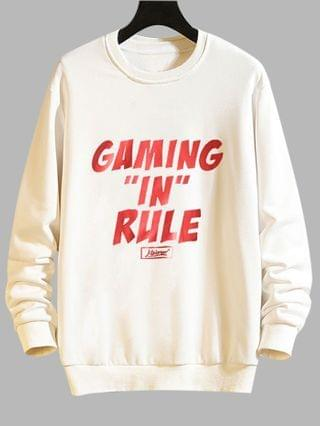 MEN Gaming In Rule Graphic Crew Neck Casual Sweatshirt - White Xs