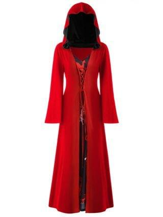 WOMEN Plus Size Christmas Lace Up Hooded Maxi Dress - Lava Red L