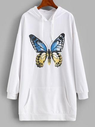 WOMEN Front Pocket Butterfly Casual Hoodie Dress - White S