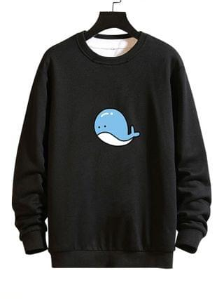 MEN Cartoon Whale Graphic Casual Drop Shoulder Sweatshirt - Black L