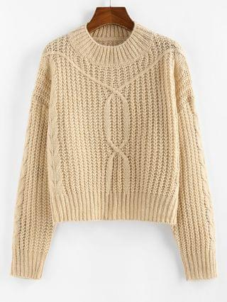 WOMEN Drop Shoulder Cable Knit Sweater - Light Coffee M