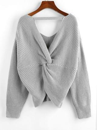 WOMEN Multiway Twisted Drop Shoulder Plunging Sweater - Light Gray M