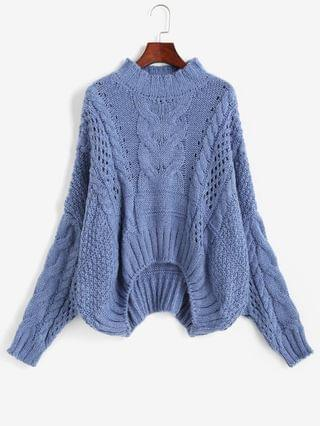 WOMEN Cable Knit Chunky Oversize Sweater - Blue