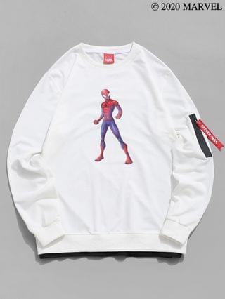MEN Marvel Spider-Man Print Zipper Pocket Faux Twinset Sweatshirt - White 2xl