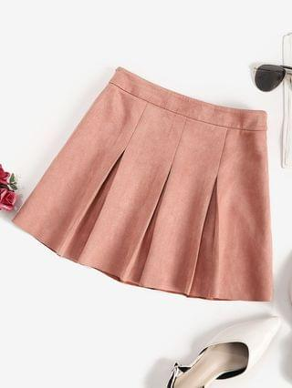 WOMEN Faux Suede Pleated Mini Skirt - Rose S