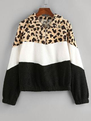 WOMEN Leopard Colorblock Sherpa Fleece Sweatshirt - Multi S