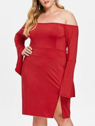 WOMEN Plus Size Slit Flare Sleeve Fitted Dress - Red L