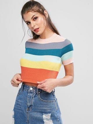 WOMEN Knitted Rainbow Color Block Striped Tee - Multi