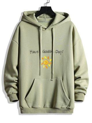MEN Have A God Like Day Graphic Fleece Lined Hoodie - Dark Sea Green 2xl