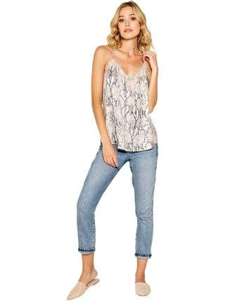 WOMEN LAVENDER BROWN - Snake Printed Cami with Lace Detail