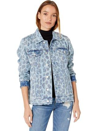 WOMEN Blank NYC - Leopard Printed Denim Trucker Jacket