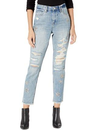 WOMEN Blank NYC - Snake Printed Star Patch Crop Girlfriend Jeans in Star Child
