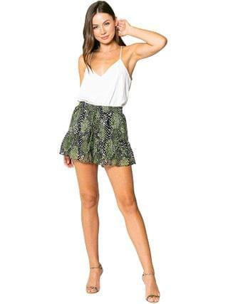 WOMEN LAVENDER BROWN - Olive Snake Pull-On Shorts with Ruffle Hem