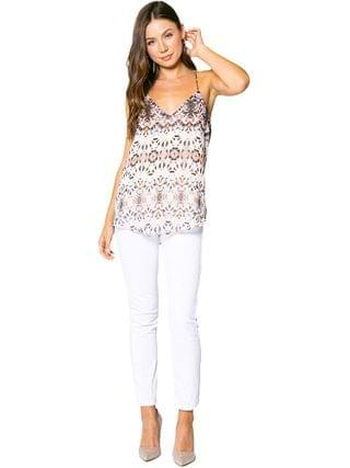 WOMEN LAVENDER BROWN - Ethnic Printed Cami with Adjustable Strap