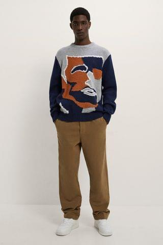 MEN JACQUARD SWEATER WITH FACE