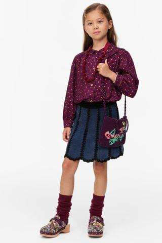 KIDS LIMITED EDITION BLOCK COLOR SUEDE SKIRT
