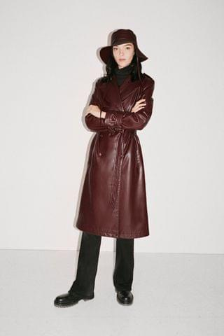 WOMEN FAUX LEATHER TRENCH COAT