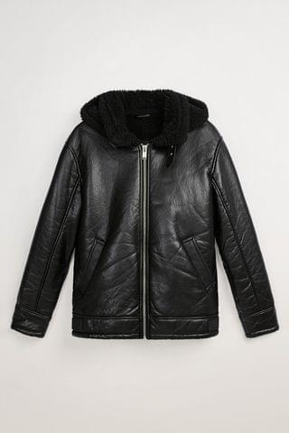MEN DOUBLE FACED FAUX LEATHER JACKET