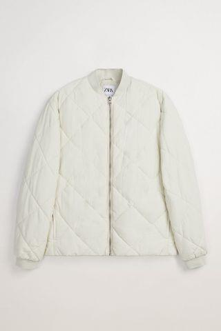 MEN DIAMOND QUILTED BOMBER JACKET