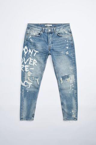 MEN TEXT PRINT RIPPED SKINNY JEANS