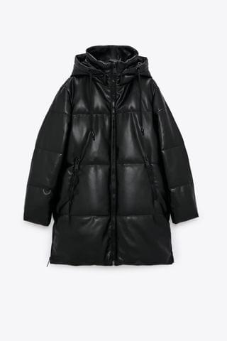 WOMEN FAUX LEATHER PUFFER COAT