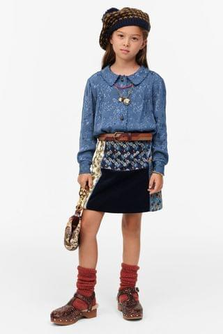 KIDS LIMITED EDITION PIPED PATCHWORK SKIRT
