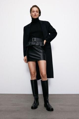 WOMEN BELTED FAUX LEATHER SKIRT