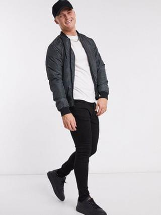 New Look checked bomber jacket in black