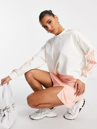 WOMEN adidas Originals long sleeve top in chalk white with large logo details