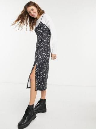WOMEN Wednesday's Girl midi cami dress with t-shirt inner layer in micro-floral print