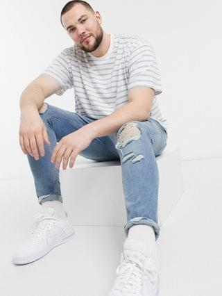 New Look Plus oversized stripe t-shirt in white