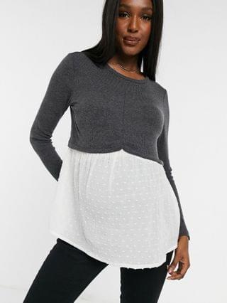 WOMEN New Look Maternity 2-in-1 sweater with undershirt detail in gray