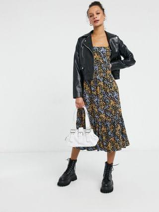 WOMEN New Look square neck midi dress in floral