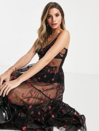 WOMEN Lace & Beads exclusive sheer tulle overlay dress in metallic heart print