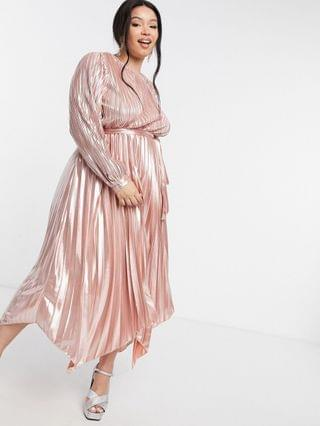 WOMEN Forever U Curve metallic pleated dress in rose gold