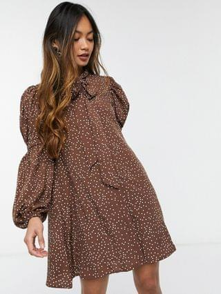 WOMEN Fashion Union mini smock dress with pussy bow and tiered sleeves in brown dots
