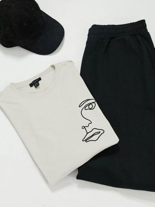 New Look oversized t-shirt with lips sketch print in stone