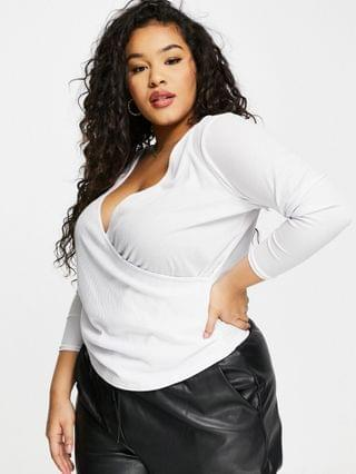 WOMEN Yours ballet wrap top in white