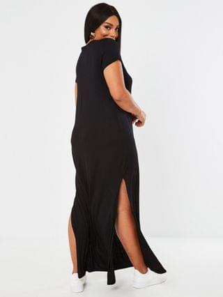 WOMEN Missguided Plus T-shirt maxi dress with side slit in black