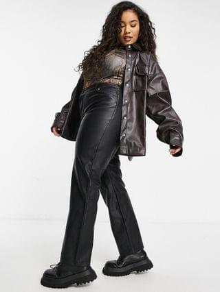 WOMEN COLLUSION Plus Exclusive leather-look shirt set in brown