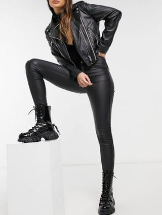 WOMEN Dr Denim Lexy leather look skinny jeans in black