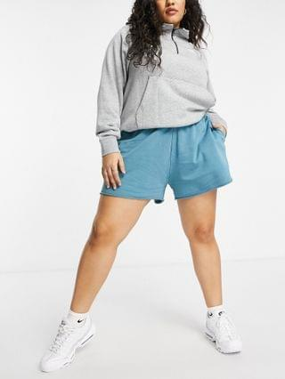 WOMEN Nike Plus washed jersey shorts in blue