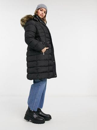 WOMEN New Look Curve longline puffer coat in black