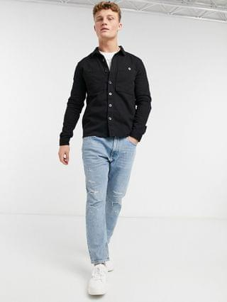 New Look double pocket twill overshirt in black