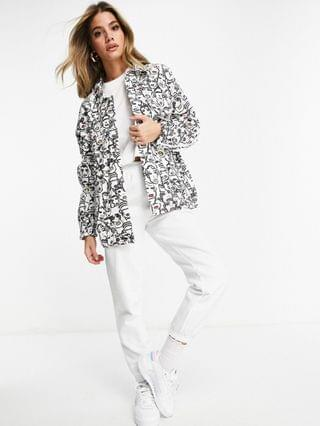 WOMEN adidas Originals track top in white with face print