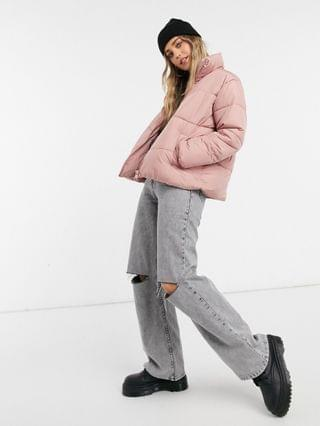 WOMEN New Look hooded boxy puffer jacket in pale pink
