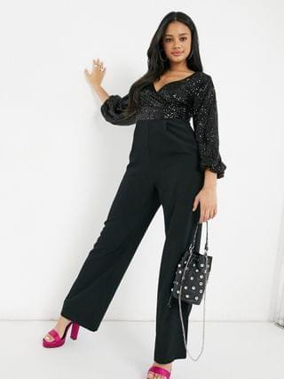 WOMEN Ever New embellished jumpsuit with plunge neck and open sleeve in black