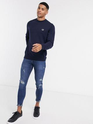 Fred Perry crew neck sweater in navy