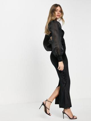 WOMEN organza sleeve & velvet midaxi dress with open back in black
